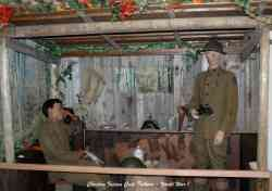 An exhibit in the Texas Military Forces Museum depicts a Choctaw code talker at work in an outpost on the Western Front during World War I.