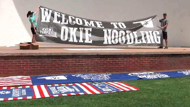 Okie Noodling welcome banner