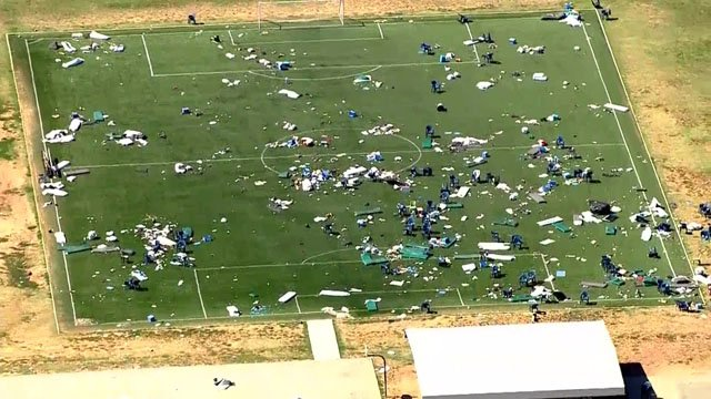 Debris on field at Great Plans Correctional Facility