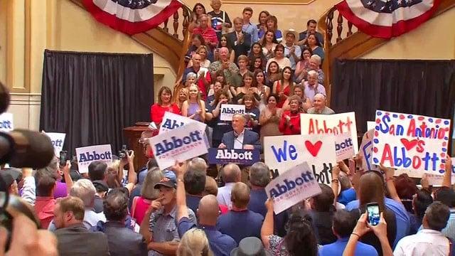 Texas Gov. Greg Abbott announced his re-election bid in San Antonio.