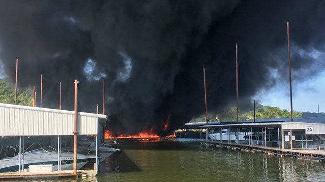 Smoke rises from fire at Highpoint Marina