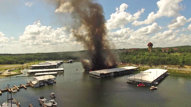 Drone view of Highport Marina fire