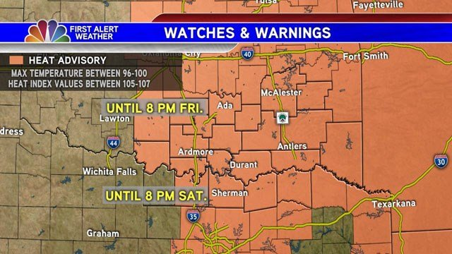 Heat Advisory in KTEN viewing area