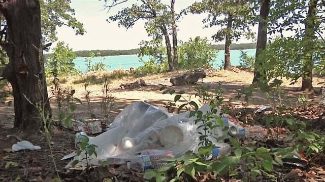 Trash spoils the landscape at Lake Murray