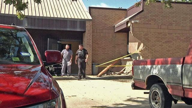 Car crashes into Denison building