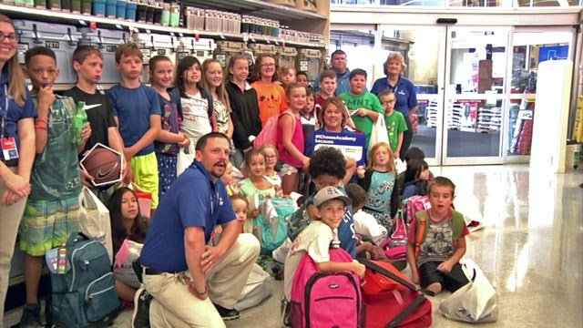 Kids on shopping spree at Sherman Academy