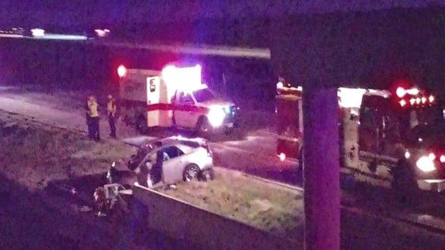 Police chase ends in crash in Denison