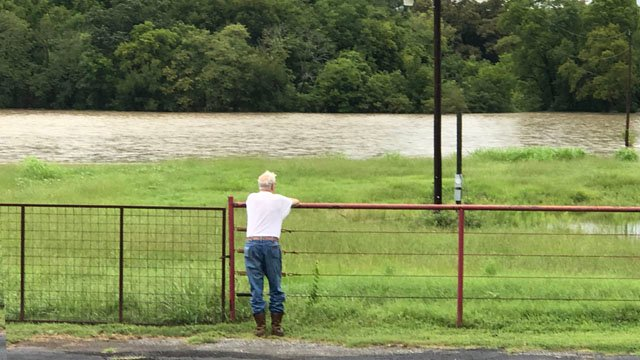 Watching Mill Creek rise near Bells, Texas