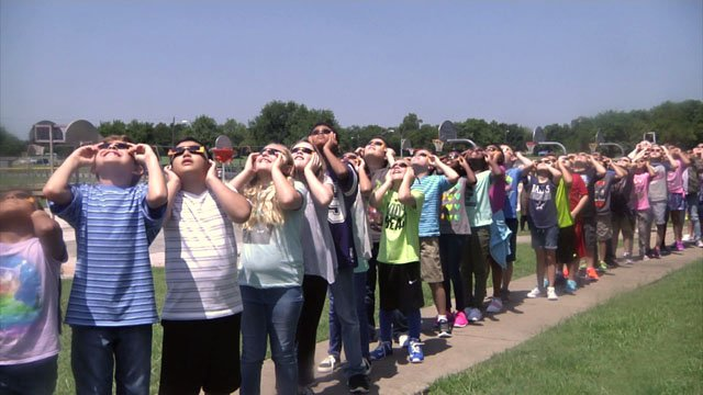 Watching the eclipse at Fairview Elementary