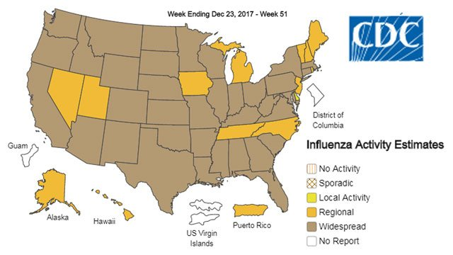 Flu activity map