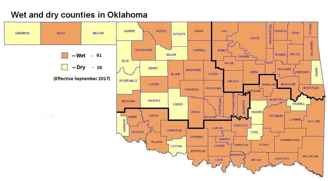 Wet and dry counties in Oklahoma