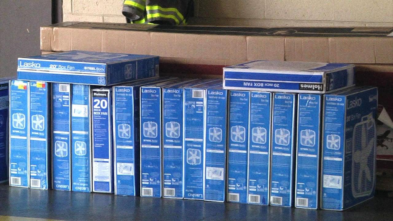Walmart donated fans to the Denison Fire Department. (KTEN)