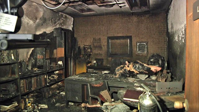 Smoke and fire damage caused by an arsonist at the Sherman Public Library on April 26, 2017. (KTEN)