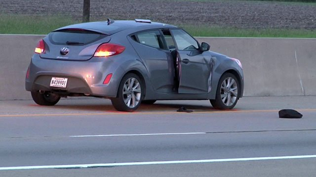 Tahbari Collins, a passenger in this Hyundai, was shot and killed by someone in another vehicle on US 75 in Howe in August 2017. (KTEN)