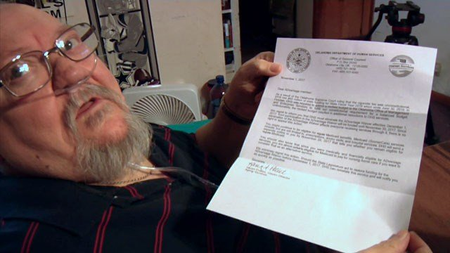 A letter from the State of Oklahoma let Billy Walls know that he would be losing his ADvantage benefits at the end of November. (KTEN)