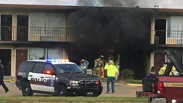 Fire broke out at the Executive Inn in Sherman. (Courtesy Teri Ridge)