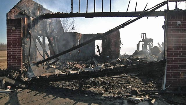Fire destroyed a Collinsville home on Tuesday night. (KTEN)