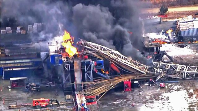 Images show the collapse of a Pittsburg County drilling rig after an explosion in January 2018. (KFOR)