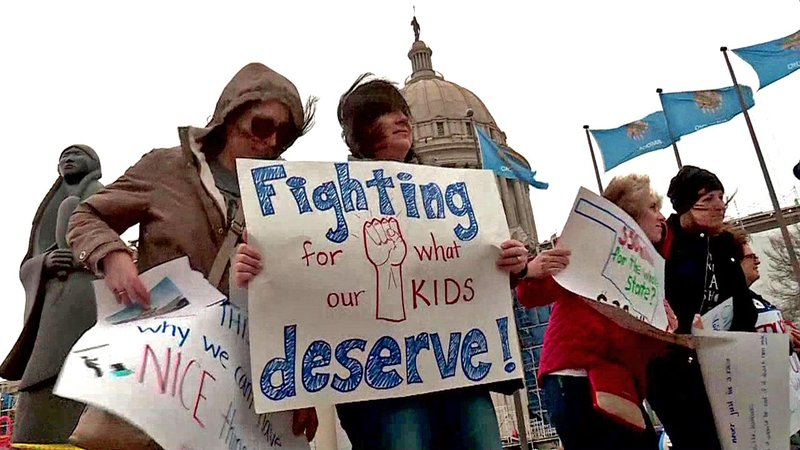 Teachers protested at the Oklahoma Capitol for higher wages. (KFOR)