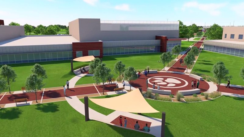 An architectural rendering of the courtyard of the new Sherman High School. (Sherman ISD)