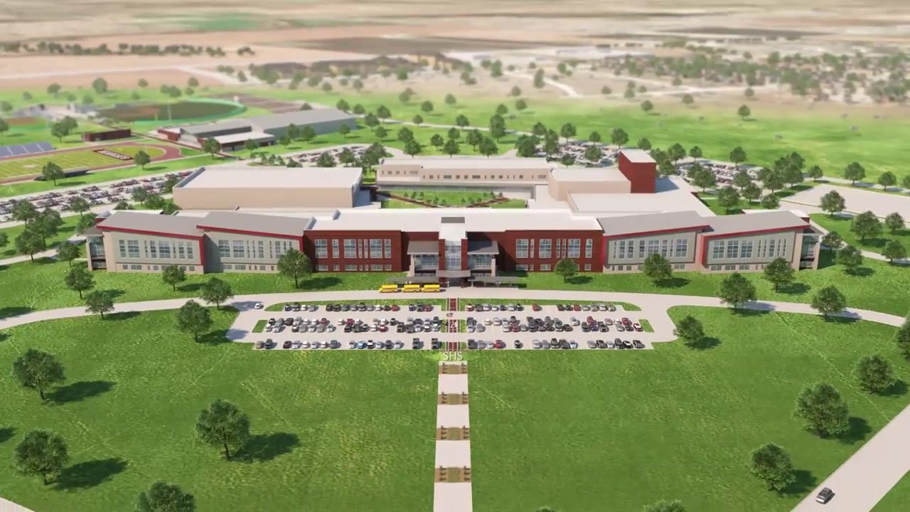 An architectural rendering of the new Sherman High School campus. (Sherman ISD)