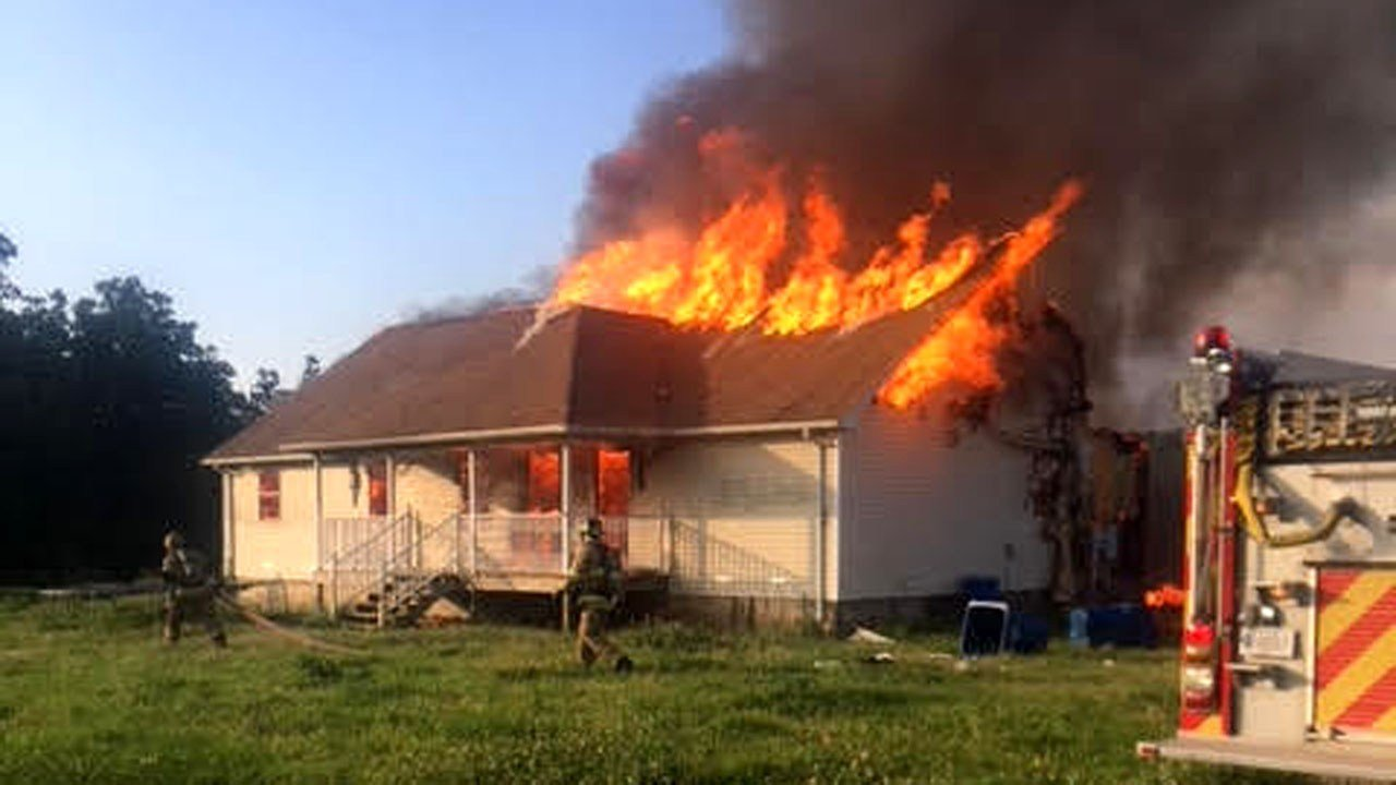 This Caddo, Oklahoma, residence was destroyed by fire on May 19, 2018. (Photo courtesy Durant FD)