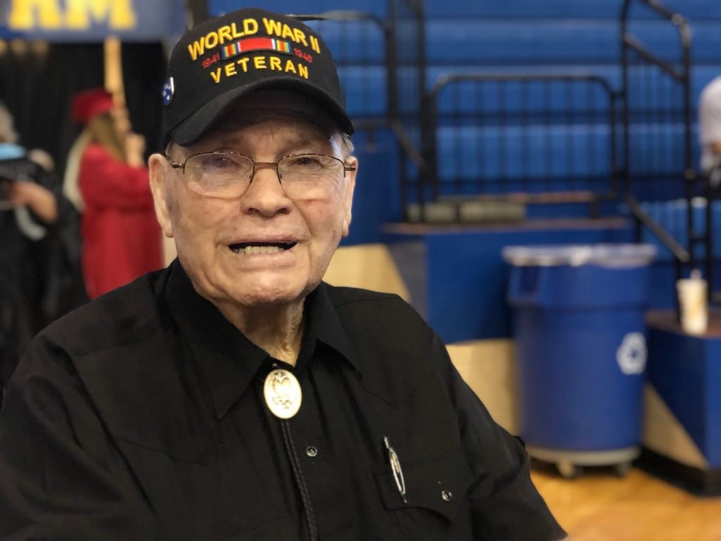 WWII veteran Talma Sadler received his 1943 diploma Thursday evening at Durant High School.  (KTEN)