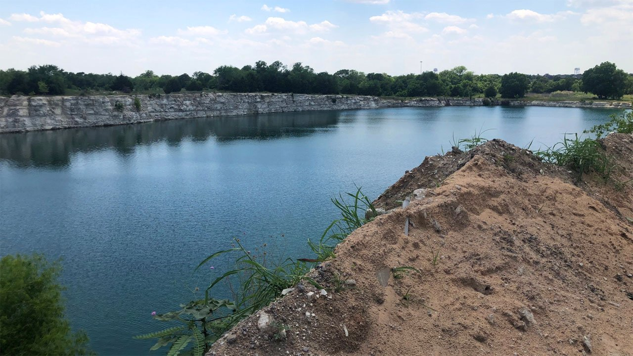 A Durant High School student drowned in this gravel pit in Melissa, Texas, on May 28, 2018. (KTEN)