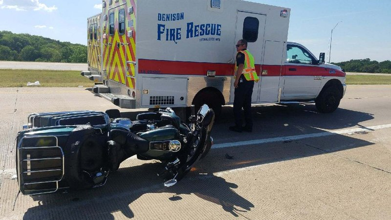 Two people were injured when their motorcycle crashed in Denison on June 14, 2018. (KTEN)