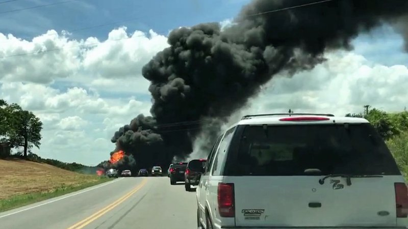 Traffic on U.S. 70 was blocked after a fuel tanker crashed and burned near the Texoma Casino on June 16, 2018. (Courtesy Terri Weir)