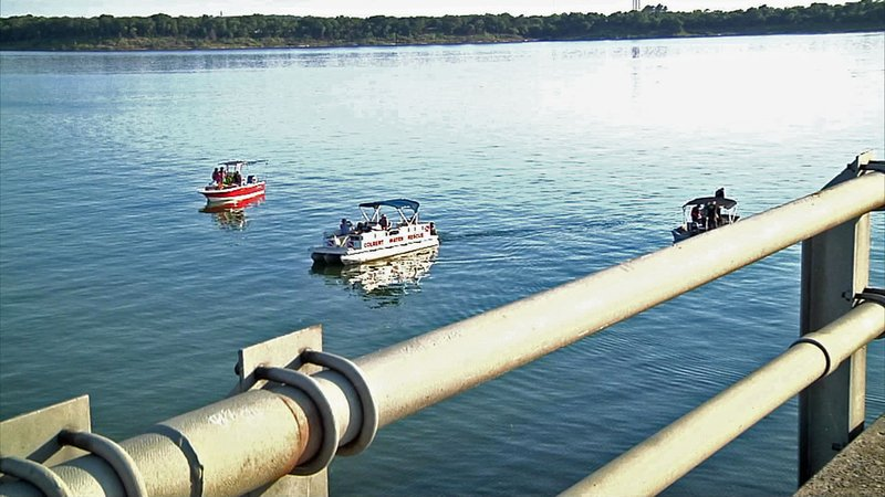Rescue teams searched for the driver of a truck that plunged into Lake Texoma. (KTEN)