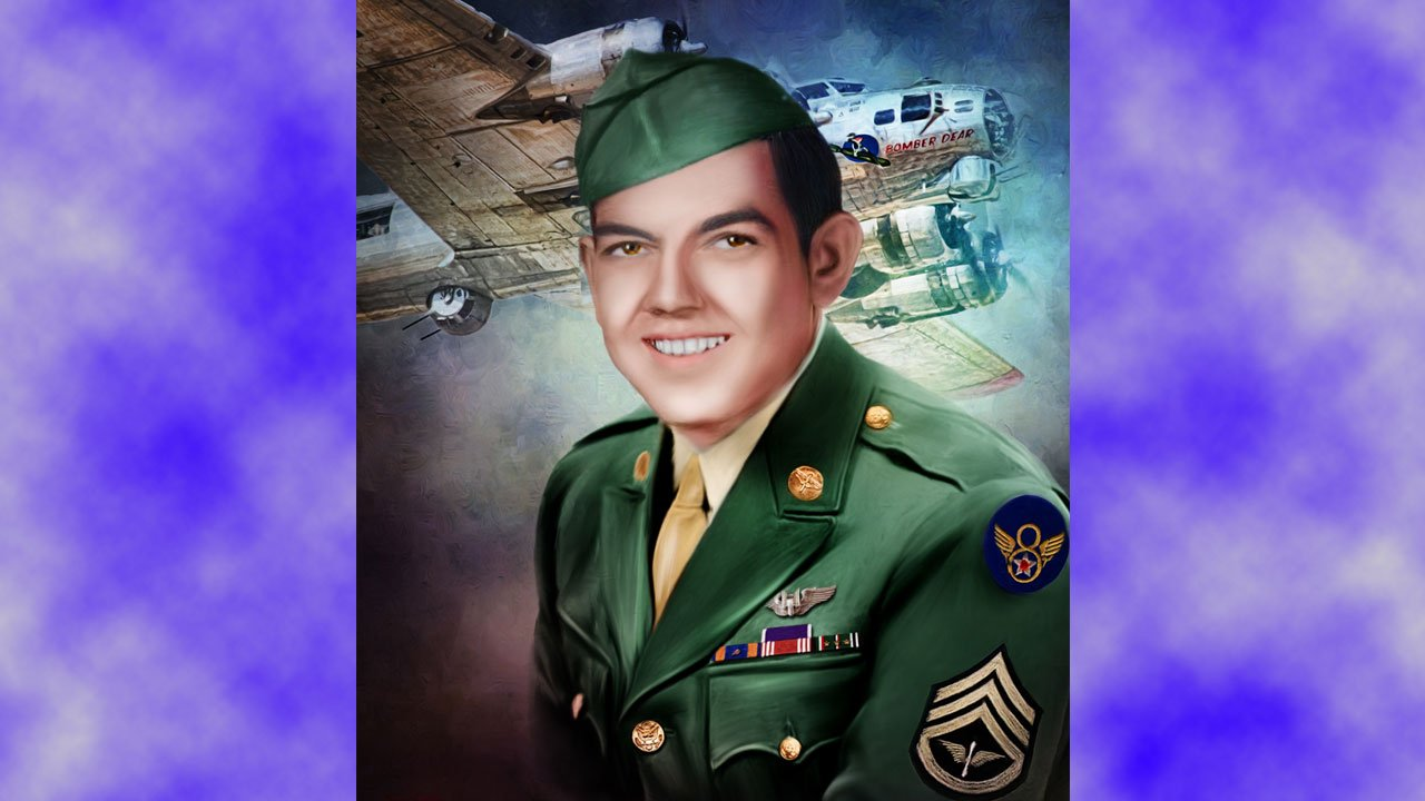 A portrait of Bobby Younger, who was 19 when his B-17 bomber was shot down over Germany in November, 1944. (Courtesy Collin County Freedom Fighters)