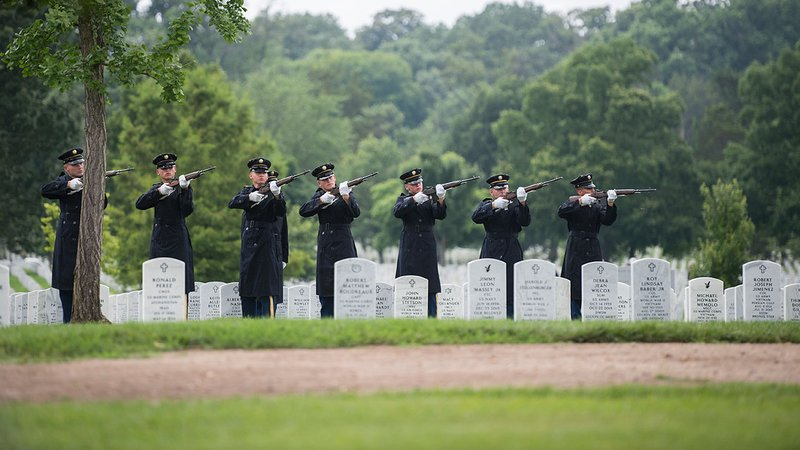 The U.S. Army Honor Guard Firing Party fires 3-rifle volleys during a funeral service for U.S. airmen missing from World War II at Arlington National Cemetery on June 27, 2018. (U.S. Army photo by Elizabeth Fraser / Arlington National Cemetery)