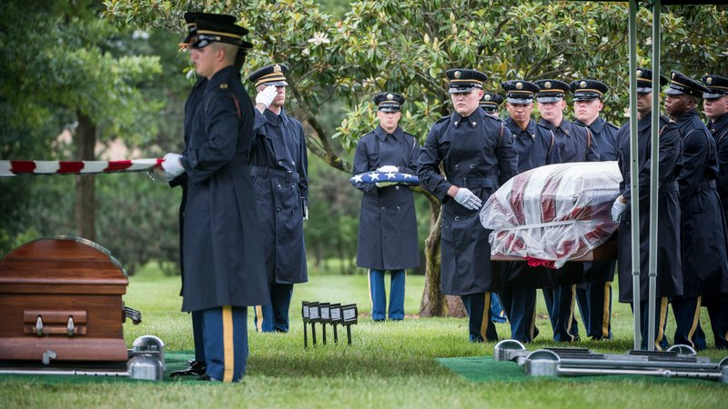 U.S. Army Air Forces Airmen who went missing after their bomber was shot down over Germany during receive full honors on June 28, 2018. (U.S. Army photo by Elizabeth Fraser / Arlington National Cemetery)