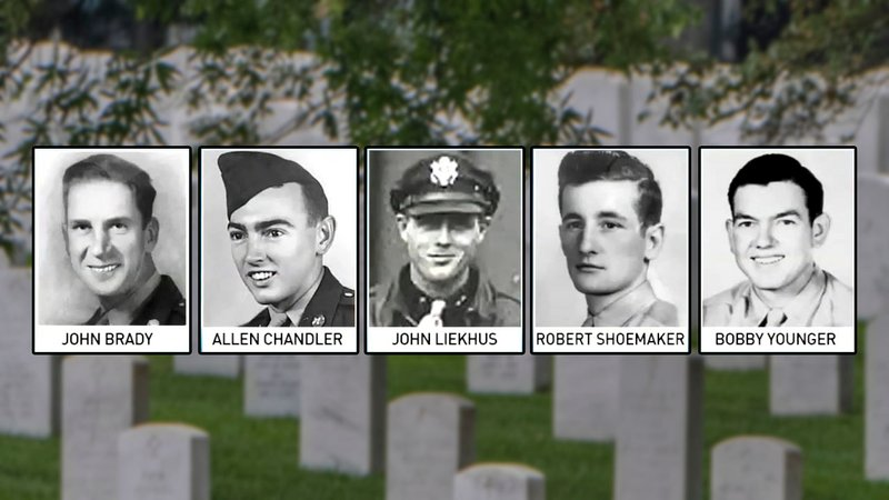 Remains of these five World War II airmen were buried at Arlington National Cemetery on June 27, 2018. (WJLA)