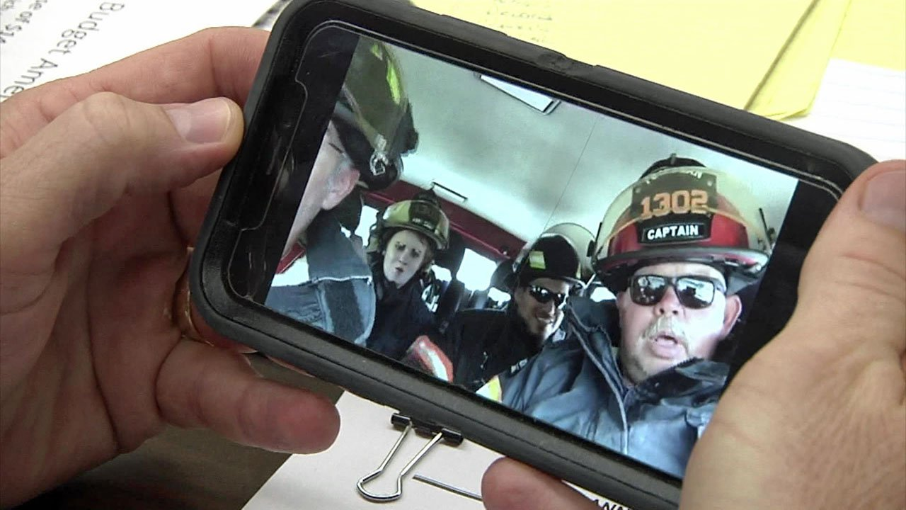 Tom Bean firefighters get in on the lip-sync challenge fun. (KTEN)