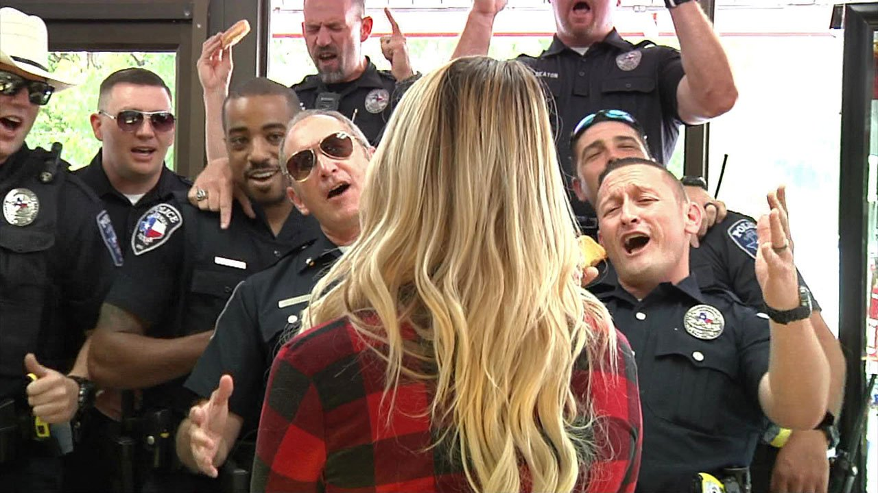 Sherman police performed their lip-sync challenge at a donut shop. (Sherman PD/Facebook)