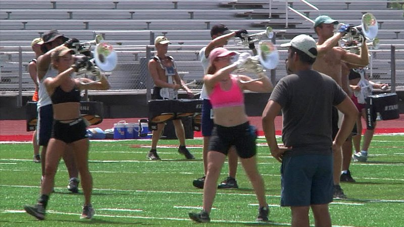 The Austin-based Genesis Drum and Bugle Corps rehearsed at Ardmore's Noble Stadium on July 17, 2018. (KTEN)