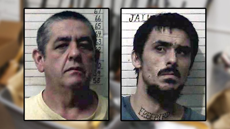 Bucky Ensey, left, and son Dylan Ensey were arrested on drug and weapons charges. (Choctaw County Jail)