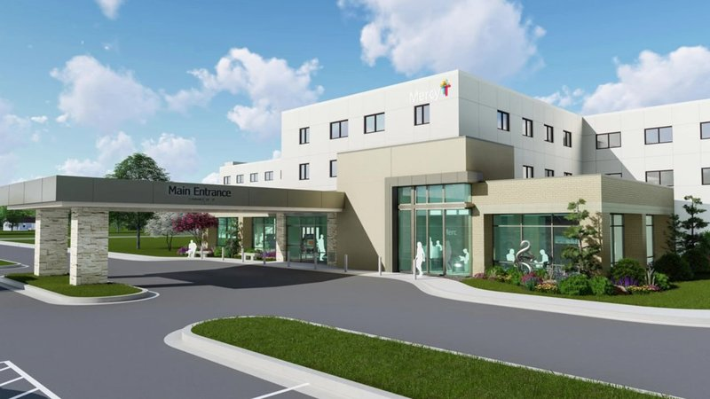 An artist's drawing of the updated entrance of Mercy Hospital in Ada. (Courtesy Mercy Hospital)