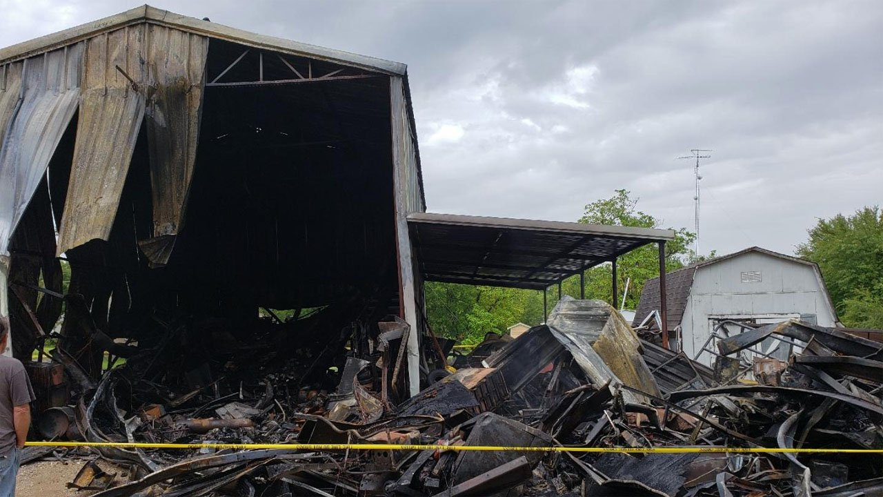 An explosion caused heavy damage to this Pottsboro garage on August 14, 2018. (KTEN)