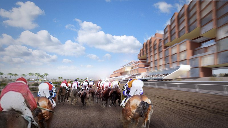 """A proposed New Mexico racetrack would feature a """"moving grandstand."""" (Courtesy Full House Resorts)"""