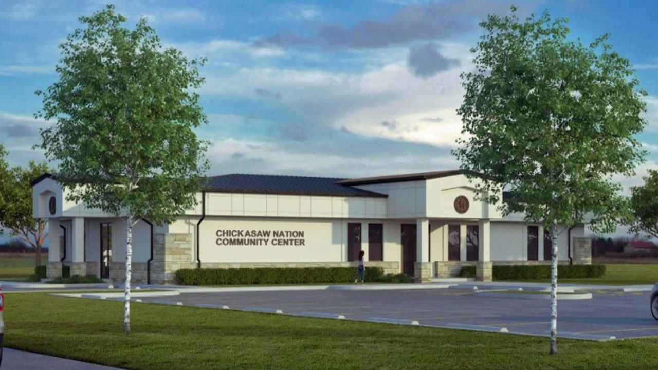 An artist's rendering of the Chickasaw Nation Community Center in Achille. (Courtesy)