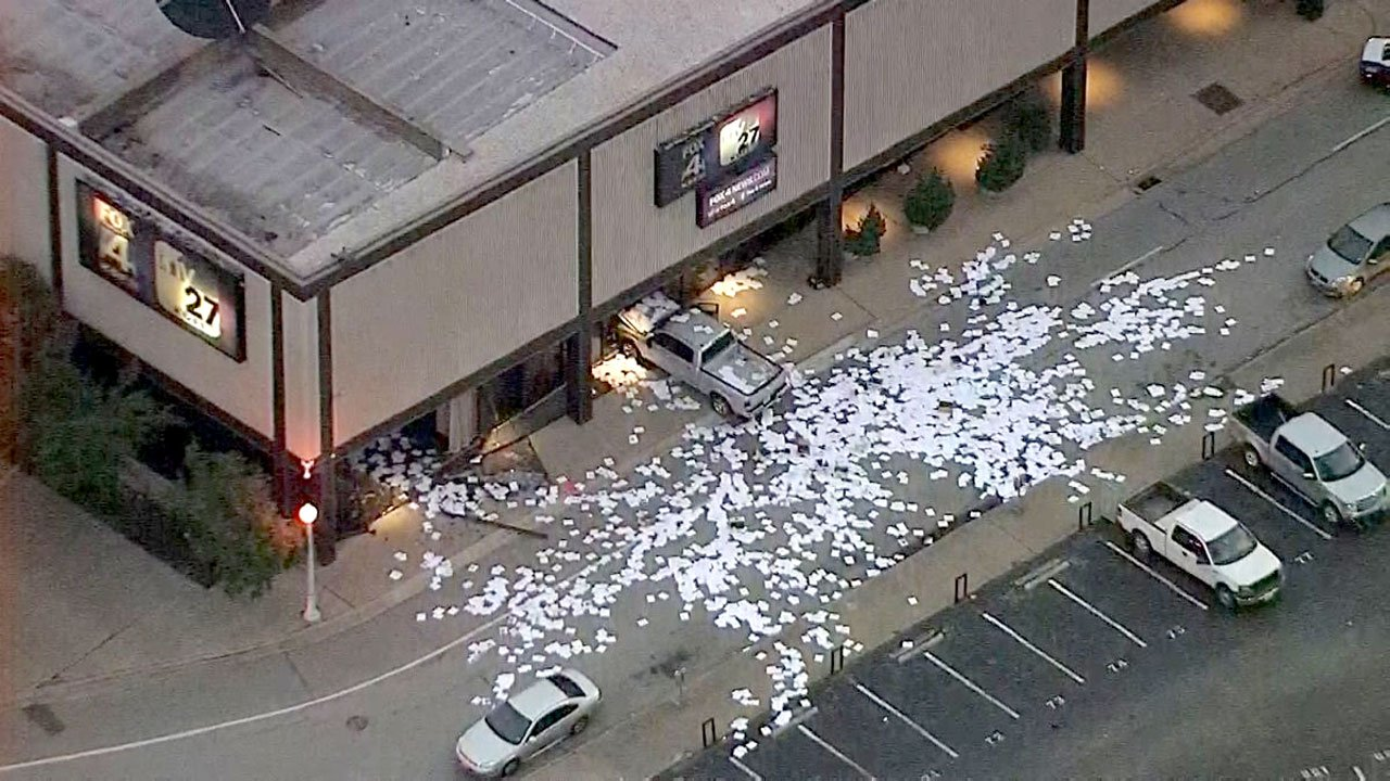 A pickup truck crashed into the KDFW studios in downtown Dallas on September 5, 2018. (KXAS)