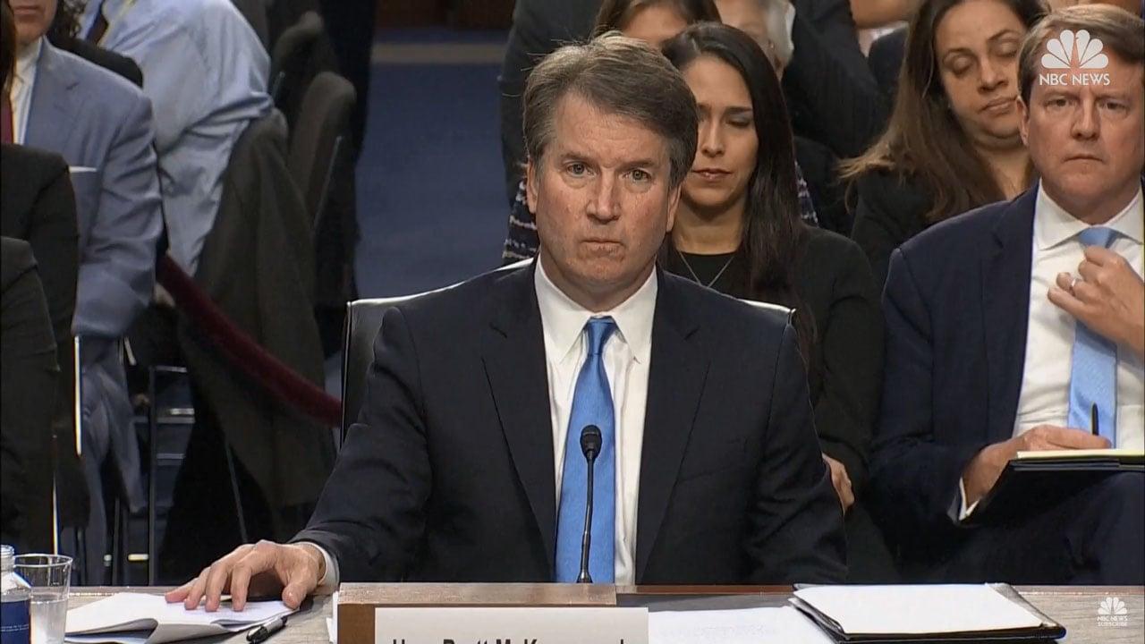 Supreme Court nominee Brett Kavanaugh appears before a Senate committee on September 5, 2018. (NBC News)