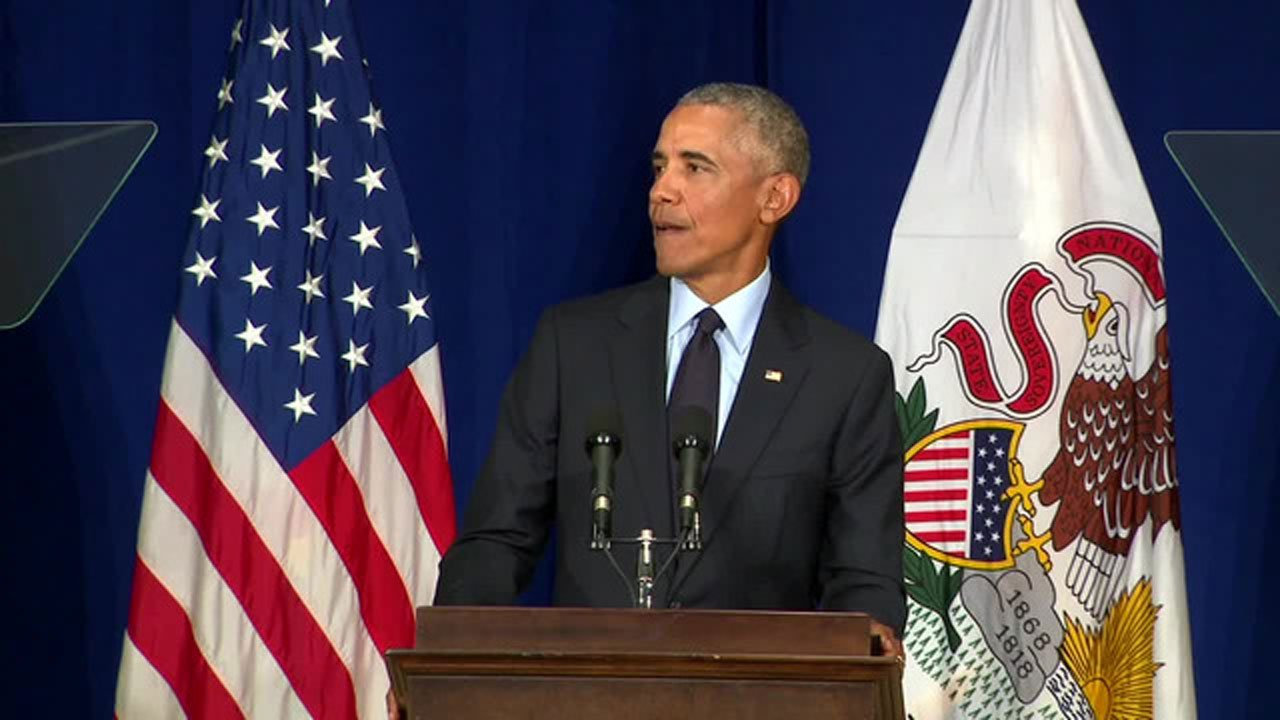 Barack Obama speaks in Urbana, Illinois, about President Trump on September 7, 2018.  (CNN)