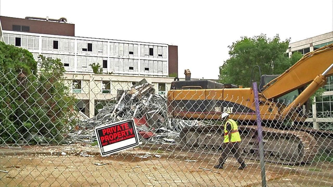 Work is underway to demolish the former Texoma Medical Center campus on Martin Luther King Street in Denison. (KTEN)