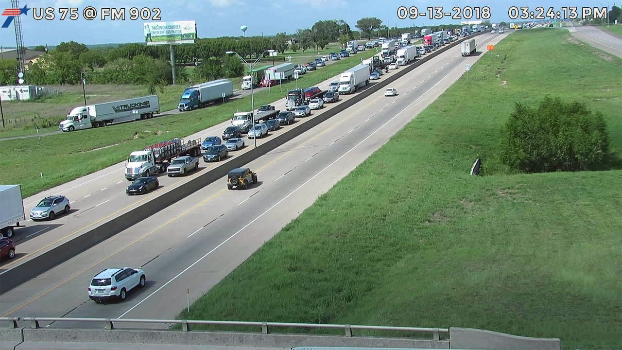 Southbound traffic on U.S. 75 was backed up after a truck overturned and spilled engines on the highway. (TxDOT)