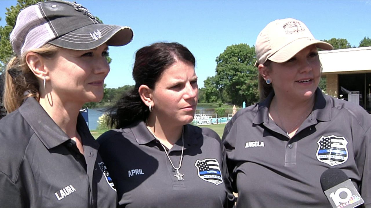 Laura Wheeler, April Key and Angelia Castellanos talked about how the Back the Badge tournament benefits law enforcement families. (KTEN)