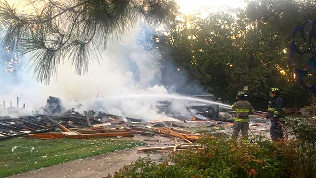 A residence northeast of Paris, Texas, was flattened by explosions on September 16, 2018. (Facebook/Faught VFD)